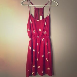 RED EVERLY ELEPHANT PRINT DRESS size Small